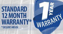 Standard 12 month Warranty
