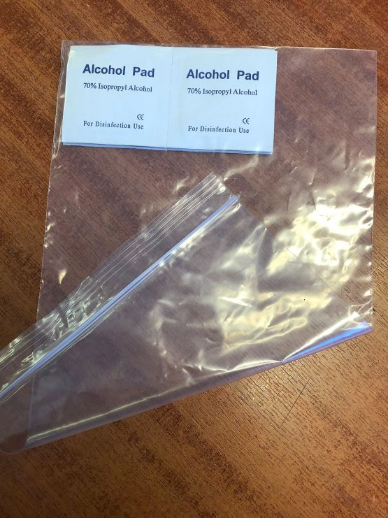x5 Isopropyl Alcohol Wipes in a zip lock bag